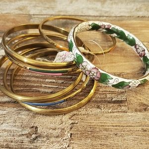 enamel bracelet and bangle set vintage